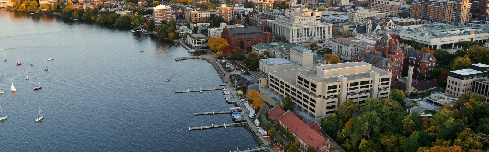 The Lake Mendota shoreline is pictured in an aerial view of the University of Wisconsin-Madison campus