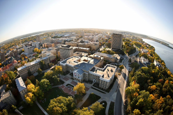 Bascom Hall atop Bascom Hill is pictured in a fisheye-lens aerial view of the University of Wisconsin-Madison campus